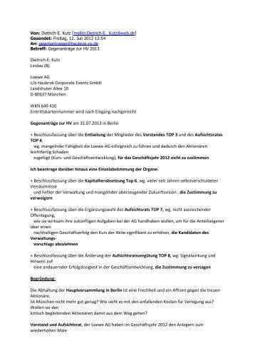 Gegenantrag Dietrich-E. Kutz - Loewe AG > Aktuell
