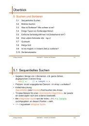 Überblick 5.1 Sequentielles Suchen