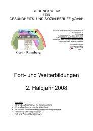 Fort- und Weiterbildungen 2. Halbjahr 2008 - Das Bildungswerk für ...