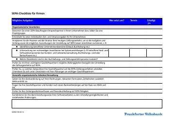 SEPA-Checkliste für Firmen - Frankfurter Volksbank eG