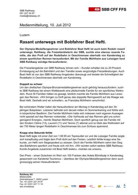 Rasant unterwegs mit Bobfahrer Beat Hefti - RailAway