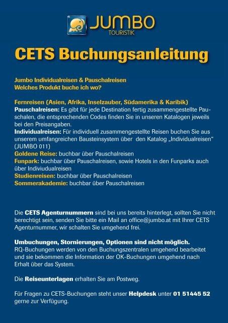 CETS Buchungsanleitung - Jumbo Touristik