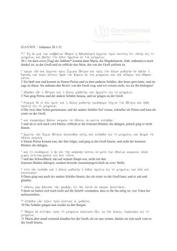 Evangelium durch Johannes Kapitel 20 Vers 1-31 - Christianismos