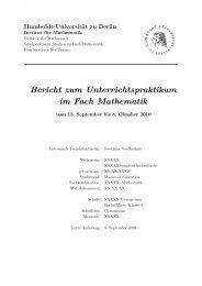 Praktikumsbericht Mathematik - Mathematik und ihre Didaktik - HU ...