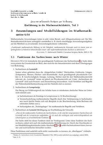 3 Anwendungen und Modellbildungen im Mathematik- unterricht
