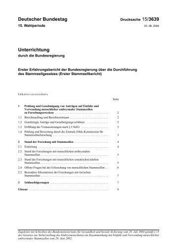Erster Stammzellbericht - Deutscher Bundestag