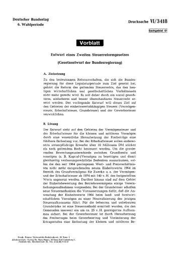 Entwurf eines Zweiten Steuerreformgesetzes - Deutscher Bundestag