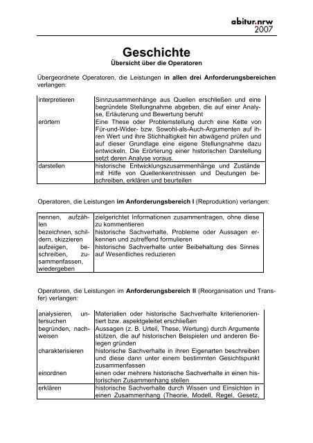 Operatoren Im Fach Geschichte Standardsicherung Nrw
