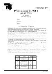 Fakultät IV Probeklausur MPGI 1 06.02.2013