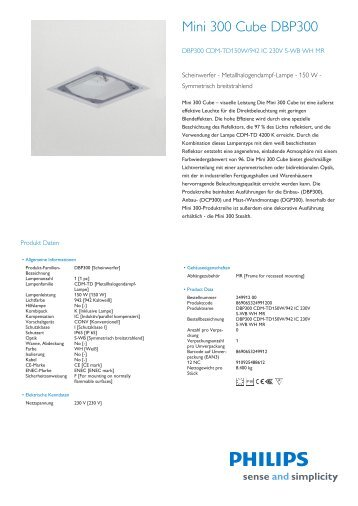 Product Leaflet: Mini 300 Cube DBP300 – eingelassene ... - Philips