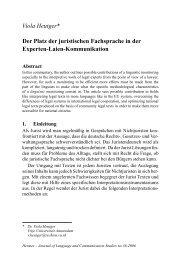 Viola Heutger* Der Platz der juristischen Fachsprache in der ...