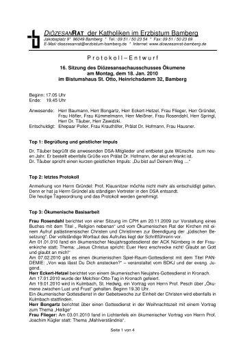 Protokollentwurf 16.Sitzung DSA Ökumene, 18.01.10 - Erzbistum ...