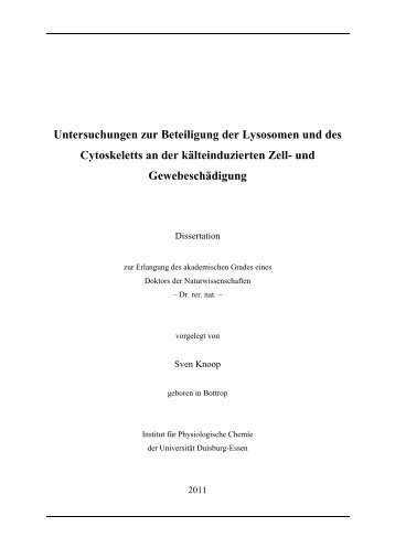 Untersuchungen zur Beteiligung der Lysosomen ... - bei DuEPublico