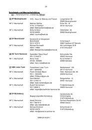 Spiellokale und Mannschaftsführer (xx = Vereinsnummer ...