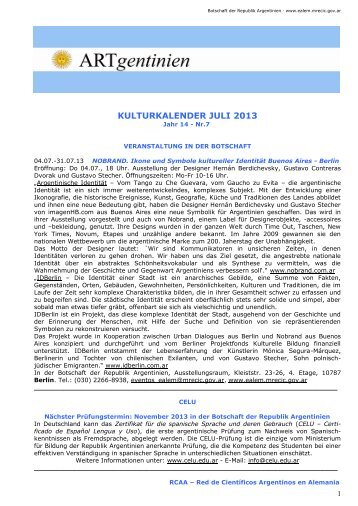 Kulturkalender Juli 2013 - Embajada de la República Argentina en ...