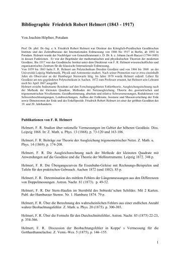 Bibliographie Friedrich Robert Helmert - E-Books Deutsches ...