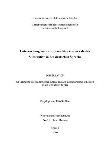Untersuchung von reziproken Strukturen valenter Substantive in der