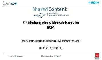 Einbindung eines Dienstleisters im ECM - ECM Navigator