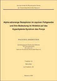 Alpha-adrenerge Rezeptoren im equinen Fettgewebe und ihre ...