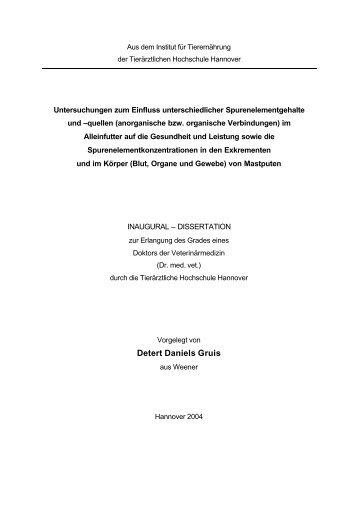 Dissertation Detert Gruis - TiHo Bibliothek elib - Tierärztliche ...