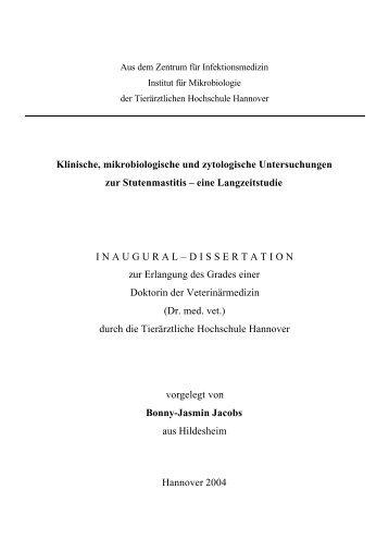Klinische, mikrobiologische und zytologische Untersuchungen zur ...