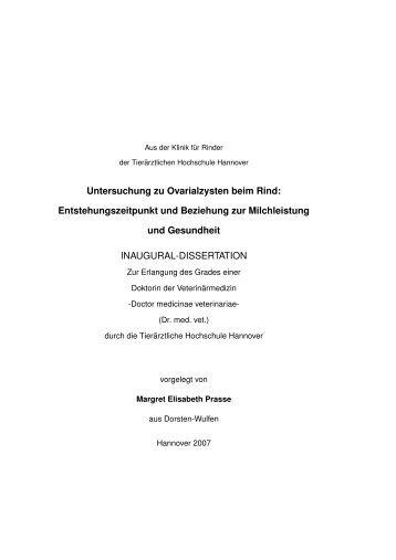 Untersuchung zu Ovarialzysten beim Rind - TiHo Bibliothek elib ...