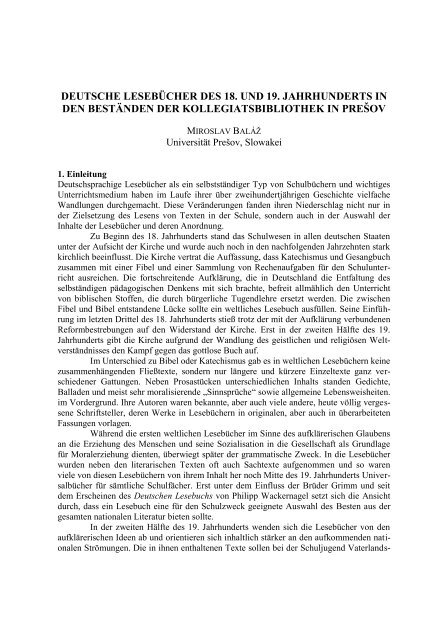Deutsche Lesebücher des 18. und 19. Jahrhunderts in den ... - EPA