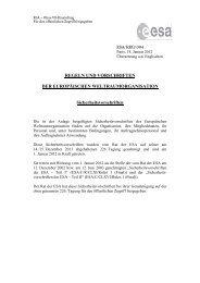 Regeln und Vorschriften der Europäischen ... - Esa