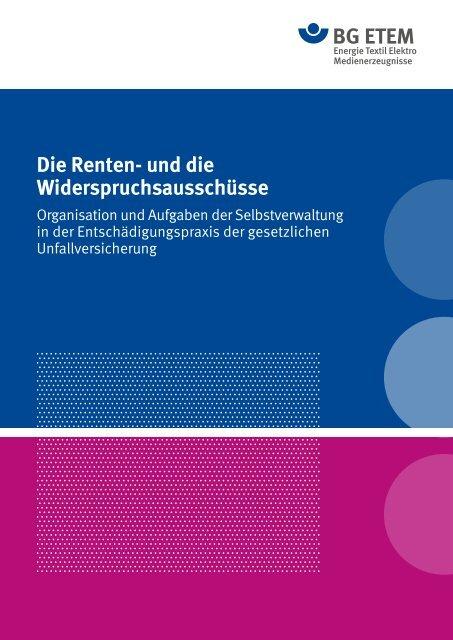 Die Renten- und die Widerspruchsausschüsse - Die BG ETEM