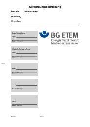 Gefährdungsbeurteilung - Die BG ETEM