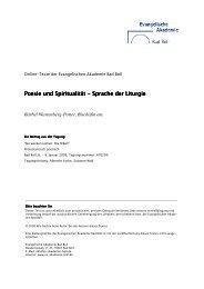Poesie und Spiritualität Poesie und Spiritualität - Evangelische ...
