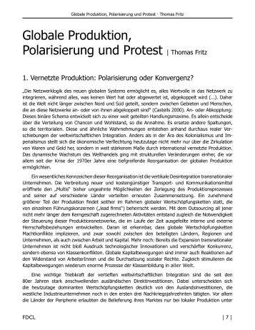 Globale Produktion, Polarisierung und Protest | Thomas Fritz - FDCL