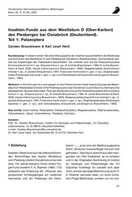 Insekten-Funde aus dem Westfalium D (Ober-Karbon) des ...