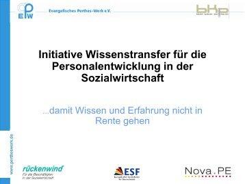 Initiative Wissenstransfer für die Personalentwicklung in der ...