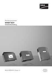 WINDY BOY - Betriebsparameter - SMA Solar Technology AG