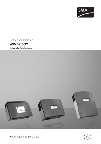 WINDY BOY - Betriebsparameter - SMA Solar Technology AG