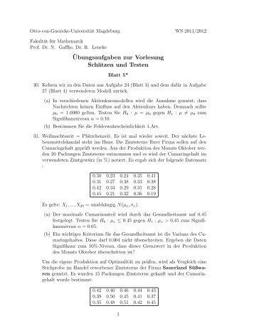 Blatt 5 - Otto-von-Guericke-Universität Magdeburg