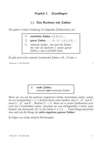 Kapitel 1. Grundlagen 1.1 Das Rechnen mit Zahlen - Mathematik für ...