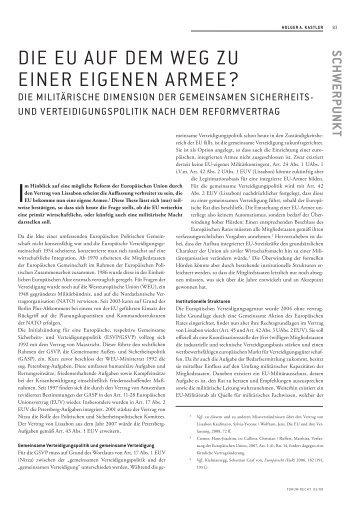 DIE EU AUF DEM WEG ZU EINER EIGENEN ARMEE? - Forum Recht