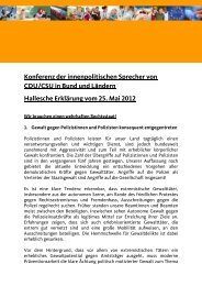 Konferenz der innenpolitischen Sprecher von CDU ... - CDU-Fraktion