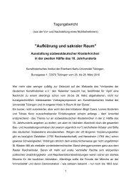 2. Kunsthistorisches Institut Tuebingen, Aufklärung und sakraler ...