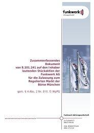 Zusammenfassendes Dokument von 8.101.241 auf ... - Funkwerk AG