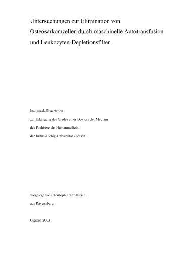 Untersuchungen zur Elimination von Osteosarkomzellen durch ...