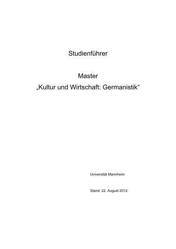 Studienführer M.A. Kultur und Wirtschaft - Germanistik - Universität ...