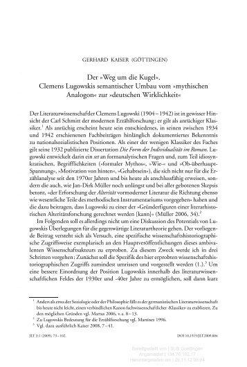 mythischen Analogon« zur »deutschen Wirklichkeit«
