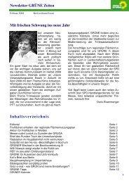Mit frischen Schwung ins neue Jahr Newsletter GRÜNE Zeiten