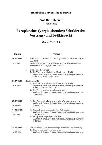 Vorlesungsplanung Berlin - Prof. Dr. Grundmann - Humboldt ...