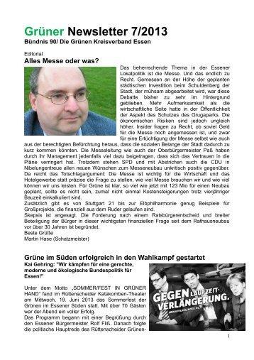 Grüner Newsletter 7/2013 - Die Grünen Essen
