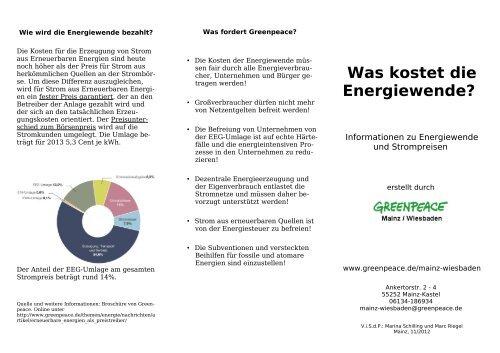 Was kostet die Energiewende? - Greenpeace Gruppen in Deutschland