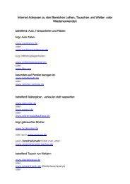 Internet-Adressen zu den Bereichen Leihen, Tauschen und Weiter ...